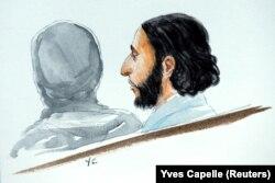 Рисунка на Салах Абдеслам от изправянето му пред съда в Брюксел през 2018