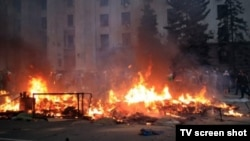 The House Of Trade Unions burns in Odesa on May 2, with many pro-Russian protesters inside.