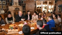 Armenia -- President Armen Sarkissian meets with children from socially vulnerable families, Gyumri, December 7, 2019.