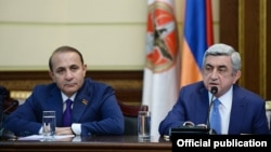 Armenia - President Serzh Sarkisian announces his decision to appoint Hovik Abrahamian as Armenia's new prime minister, Yerevan, 13Apr2014.