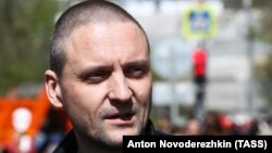 Russian opposition activist Sergei Udaltsov attends a rally marking International Workers Day in central Moscow on May 1.