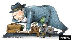 Жемқорлық тақырыбына карикатура.