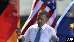 Президент США Барак Обама выступил в Берлине у Бранденбургских ворот 19 июня 2013 года