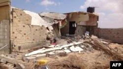 منزل قصفته قوات الجيش المصري في عملية أمنية بمدينة شيخ زويد بسيناء.