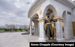 One of the 27 statues of ancient Turkmen warriors and leaders around the Independence Monument in Ashgabat.