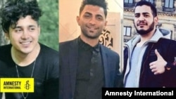 From right to left: Amirhossein Moradi, Mohammad Rajabi and Saeed Tamjidi who have been sentenced to death accused of acts of arson that took place during protests in November 2019.