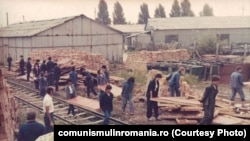 1983: Munca patriotică a tinerilor brigadieri într-un depozit din Târgu Jiu. Sursa: comunismulinromania.ro (MNIR)