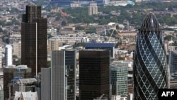 Вид на лондонский район Сити, британский финансовый центр. Лондон, 21 августа 2008 года.
