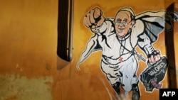 Папа Франциск как Супермен. Граффити в Риме