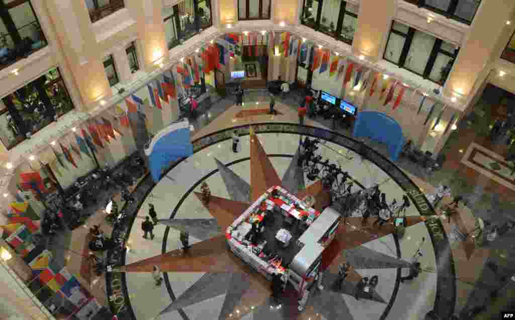 A general view of a main hall in the Central Election Commission headquarters in Moscow.