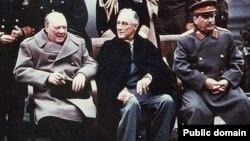 Лидеры стран антигитлеровской коалиции - Черчилль, Рузвельт и Сталин. 1945 год.