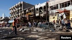 محل انفجار بمب در محله المَشتَل بغداد. ۱۹ مارس ۲۰۱۳.
