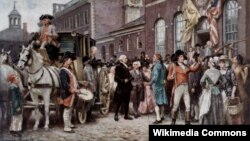 Джордж Вашингтон прибывает в Конгресс-холл в Филадельфии на свою вторую инаугурацию. Художник Жан Леон Жером Феррис