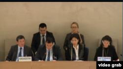Представители Кыргызстана во время рассмотрения доклада КР о ситуации с правами человека в Кыргызстане на сессии Рабочей группы Универсального периодического обзора (УПО) Совета ООН по правам человека в Женеве. 19 января 2015 года.