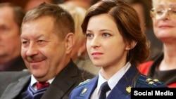 """""""Qırım Cumhuriyetiniñ FSB"""" reberi Viktor Palagin ve """"Qırım Cumhuriyetiniñ"""" prokurorı Natalya Poklonskaya"""