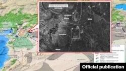 """Карта маршрутов, по которым нефть из """"ИГ"""" якобы доставляется в Турцию, источник - доклад Минобороны РФ"""