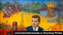 Nicolae Ceauşescu şi scene din istoria poporului (donat de Natalia şi Nicolae Gadonschi-Ţepeş, ulei pe pânză, 1978). Sursa: comunismulinromania.ro (MNIR)
