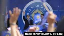 Բիձինա Իվանիշվիլին Թբիլիսիի Ազատության հրապարակում բազմամարդ հանրահավաքի ժամանակ, 27-ը մայիսի, 2012թ.