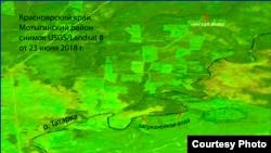 Космоснимок реки Татарка, Мотыгинский район