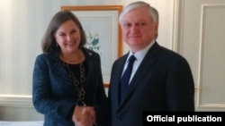 Germany - Armenian Foreign Minister Edward Nalbandian and U.S. Assistant Secretary of State Victoria Nuland meet in Munich, 13Feb2016.