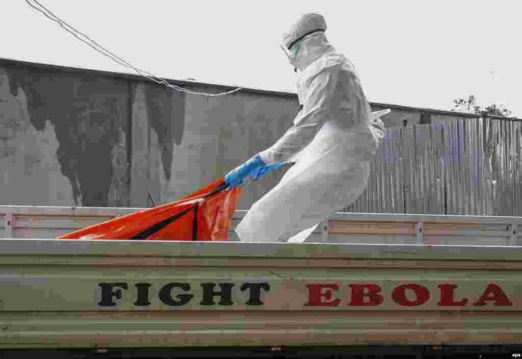 Эбола індетінен қайтыс болған кісінің денесін көлікке салып жатқан адам. Либерия, 13 қазан 2014 жыл.