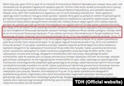 Türkmenistanyň Adalatçysynyň hasabatynda kiril harplarynda ýazylan bölümler