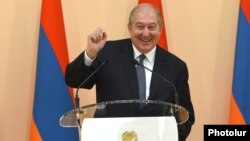 Armenia -- President Armen Sarkissian speaks at a ceremony in the presidential palace in Yerevan, June 4, 2018.