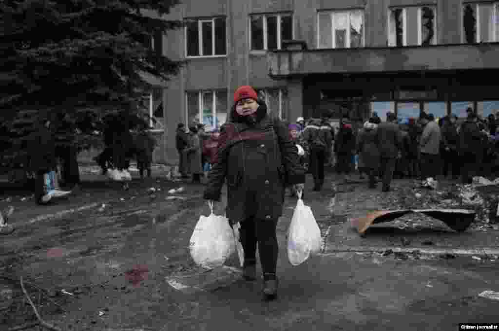 Debaltsevo township, Donetsk region, Ukrain. The territory is under ukranian control. The center of distribution of humanitarian aid in a former city hall.