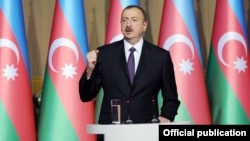 Azerbaijan - President Ilham Aliyev gives a speech at an official reception in Baku, 27May2014.