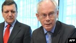 Jose Manuel Barroso i Herman Van Rompuy na EU Summitu u Brusselsu, 25. mart 2010.