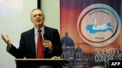 Jared Taylor speaks during the International Russian Conservative Forum in St. Petersburg on March 22.
