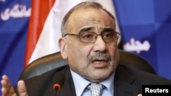 Iraqi Shi'ite Vice President Adel Abdul-Mahdi speaks during a news conference in September.