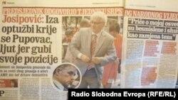 Tekst u Jutarnjem listu u kojem Josipović kritizira Pupovca, 17. kolovoza 2012.