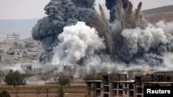 Воздушный удар по Кобани, 17 ноября 2014 года.