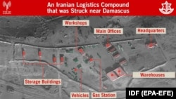 An IDF's presentation of alleged Iranian intelligence sites in Syria, May 11, 2018