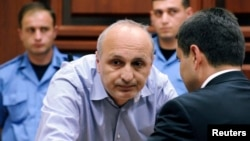 Former Georgian Prime Minister Vano Merabishvili attends a preliminary hearing of his case at the court in Kutaisi on May 22.