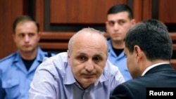 Former Prime Minister Vano Merabishvili attends a preliminary hearing of his case at the court in Kutaisi on May 22.