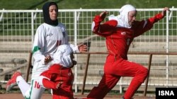 The Iranian women's national football team plays in hijab, but the youth Olympic team is not allowed.