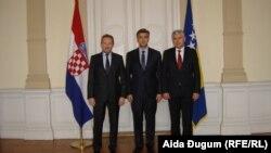 Susret Andreja Plenkovića sa članovima Predsjedništva BiH Bakirom Izetbegovićem i Draganom Čovićem