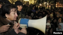 Alla Dzhioyeva addressed supporters in Tskhinvali in December.