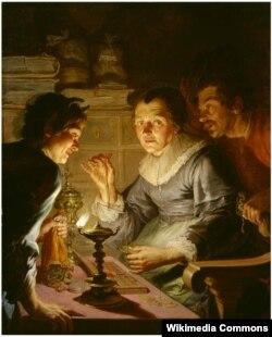 Жак дэ Лянж, «Старая жанчына важыць золата» (1642)
