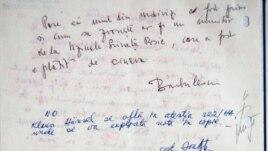Unul din documentele de delațiune din arhiva Securității