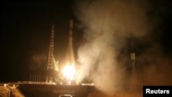 «Прогресс МС-04» жүк кемесін тіркеген «Союз-У» зымыран тасығышының Байқоңырдан ұшырылған сәті. 1 желтоқсан 2016 жыл.