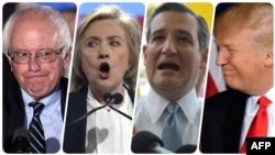 از راست: ترامپ، کروز، کلینتون و سندرز