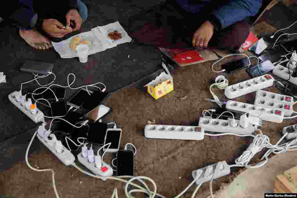 A phone charging station in the Vucjak camp. According to Bosnian officials, at least 6,000 migrants are currently stranded in the Bihac region.