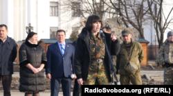 Народний депутат Тетяна Чорновіл виступає на мітингк проти блокади