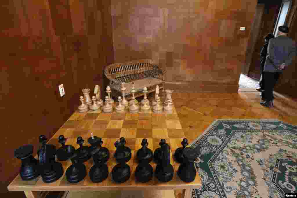 This chess set belonged to the Soviet leader.
