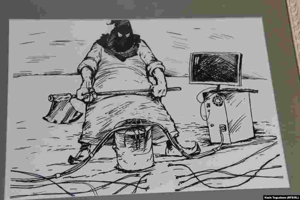 Алматылық суретші Ибрагим Кубековтің БАҚ жендеттері туралы салған карикатурасы.