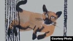 """Бирманская кошка. Иллюстрация из книги """"Стихи для Pussy Riot"""""""
