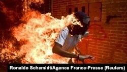 28-річний Хосе Віктор Салазар Бальза, який загорівся під час насильницьких зіткнень з поліцією під час акції протесту проти президента Ніколя Мадуро. Каракас, Венесуела